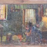 Pictura veche semnata, ulei pe panza, pret redus, Scene gen, Realism