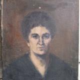 Portret de femeie, pictura veche in ulei pe panza - Pictor roman