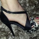 Sandale superbe din satin animal print!, 37, Negru