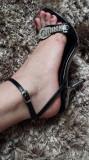 Sandale noi cu strasuri si talpa oglinda cu model!, 37, Negru