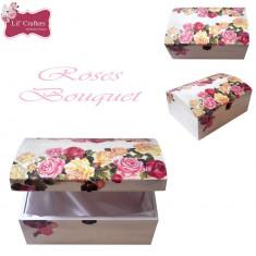 Cufar / Cutie de bijuterii decorativa handmade roses bouquet - Cutie Bijuterii