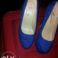 Pantofi toc inalt si platforma - Pantof dama, Culoare: Din imagine, Marime: 35, Piele intoarsa, Cu toc