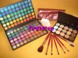 Trusa machiaj MAC 120 culori profesionala paleta farduri + Set 7 pensule makeup + Fond de ten anticearcan concealer 15 nuante +  Buretel cosmetic, Mac Cosmetics