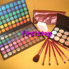 Trusa machiaj Mac Cosmetics MAC 120 culori profesionala paleta farduri + Set 7 pensule makeup + Fond de ten anticearcan concealer 15 nuante + Buretel cosmetic
