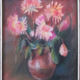 Vaza cu flori - semnat Popas '87 - Pictor roman, Pastel, Impresionism