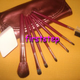 Set trusa machiaj 7 pensule make up Megaga Professional BORDO + Cadou buretel cosmetic pu fond de ten