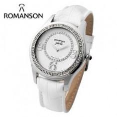 Ceas Romanson de dama cod RL8214Q LW-WH - pret vanzare 599 lei; ceasul este nou, livrat in cutie si este insotit de garantie de 24 luni. - Ceas dama Romanson, Casual, Quartz, Inox, Piele, Analog