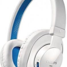 Casti bluetooth (wireless) Philips albe, Casti Over Ear, Fara Fir, Active Noise Cancelling