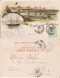 Salutari din Romania (Litho) - Litografie 1900 - Constanta, Dobrogea-Podul de la Cernavoda, Bricul Mircea