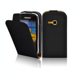 Husa flip neagra Samsung Galaxy S6500 II mini  + cablu date cadou