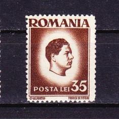 Timbre ROMANIA 1945/ 187 = EROARE - MIHAI I (uzuale) 35 lei EROARE DE DANTELARE 14, 5 X 13, 5 IN LOC DE 14, 5 X 14.- MNH