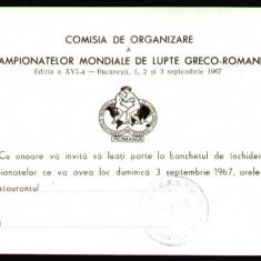 1967 RSR, Banchetul de inchidere - Campionatele Mondiale de Lupte Greco-Romane la Bucuresti, invitatie propaganda comunista