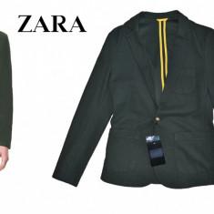 ZARA Man ORIGINAL Sacou Barbati SLIM FIT Model scurt, Marime S Transport GRATUIT, Marime: S, Culoare: Din imagine, 1 nasture, Bumbac
