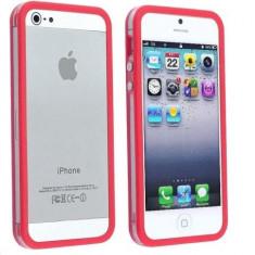 Bumper iphone 5 transparent cu margine rosu mat  + folie ecran si cablu date cadou