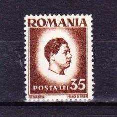 Timbre ROMANIA 1945/ 187 = MIHAI I (uzuale) 35 lei EROARE DE DANTELARE 14, 1/2 X 13, 1/2 IN LOC DE 14, 1/2 X 14.- MNH