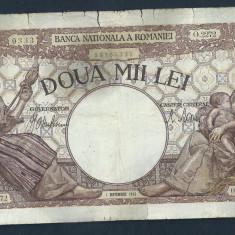 ROMANIA 2000 2.000 LEI 1 septembrie 1943 [7] filigram BNR in scut - Bancnota romaneasca