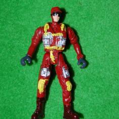Figurina jucarie, politist, plastic, cap si picioare mobile, moro-rosu, 10 cm