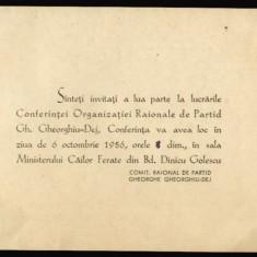 1956 RPR, Conferinta Organizatiei Raionale de Partid Gheorghe Gheorghiu-Dej a PMR - Ministerul Cailor Ferate, invitatie propaganda comunista - Hartie cu Antet