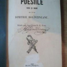 POESIILE VECHI SI NOUE de DIMITRIE BOLINTINEANU, ingrijita deD.G.SION, BUCURESTI 1855 - Carte veche