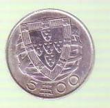 Moneda -  5 escudos 1948 Portugalia ARGINT