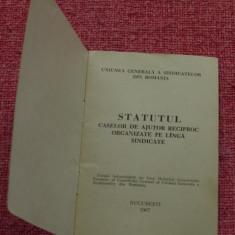Brosura - Statutul caselor de ajutor reciproc prganizate pe linga sindicate - UGSR - 1967 - 24 pagini !!!! - Pasaport/Document