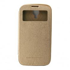 Toc My-Wow Samsung Galaxy S4 Auriu - Husa Telefon Atlas, Piele Ecologica