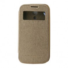 Toc My-Wow Samsung Galaxy S4 Mini I9190 Auriu - Husa Telefon Atlas, Piele Ecologica