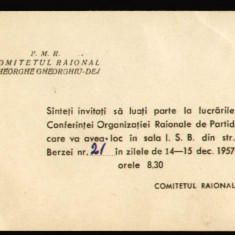 1957 RPR, Conferinta PMR - Organizatia Raionala de Partid Gheorghe Gheorghiu-Dej, invitatie propaganda comunista - Hartie cu Antet
