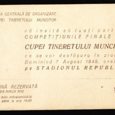 1949 RPR, Cupa Tineretului Muncitor - Comisia Centrala de Organizare a CTM / UTM, invitatie propaganda comunista