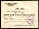 1949 RPR, Miting Congresul de Unificare a Tineretului Muncitor si Saptamana Mondiala a Tineretului Democrat, invitatie propaganda comunista