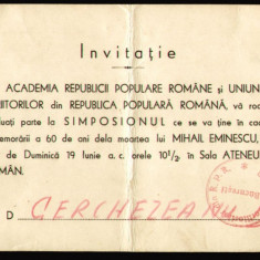 1949 RPR, Simpozion Eminescu 60 ani de la moarte - Academia Republicii si Uniunea Scriitorilor, invitatie propaganda comunista