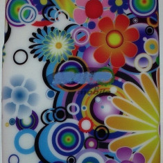 Toc silicon Jelly Case Colour Flowers Nokia Lumia 520 - Husa Telefon Nokia, Husa