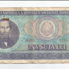 LL bancnota Romania 100 lei 1966 - Bancnota romaneasca
