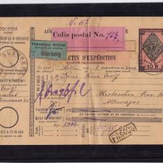 BULETIN DE EXPEDITIE1907 BUCURESTI - GERMANIA FISCAL 10 b 1890
