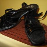 Sandale negre din piele lacuita - Sandale dama, Culoare: Negru, Marime: 39, Piele naturala