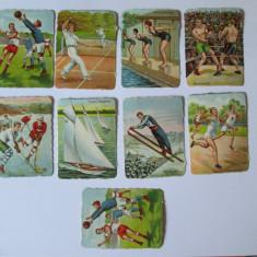 LOT 9 CARTONASE SCOLARE CU TEMATICA SPORTIVA 6 X 8 CM DIN ANII 30 - Cartonas de colectie