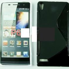 Toc silicon S-Case Huawei Ascend P6 - Husa Telefon Huawei, Negru, Husa