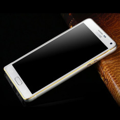 Bumper aluminiu argintiu margine aurie Samsung Galaxy Note 4 + folie ecran