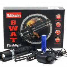 Lanterna NightSearcher cu LED CREE Q5 + ZOOM + LUPA +3 Faze + INCARCATOR CASA / AUTO + acumulator 18650 a