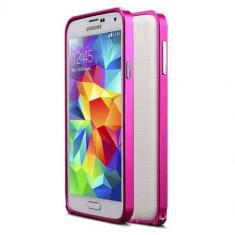 Bumper hot pink roz din aluminiu pentru Samsung S5 + folie ecran cadou