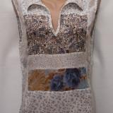 Bluza voal model patchwork, marime M