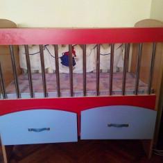 PATUT COPII LEMN - Patut lemn pentru bebelusi, 1-3 ani, 120x60cm, Rosu