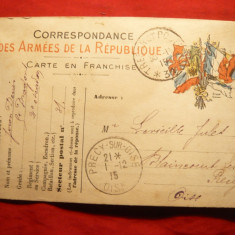 Carte Postala Militara Franceza - Primul Razboi Mondial , 1915 , circulata