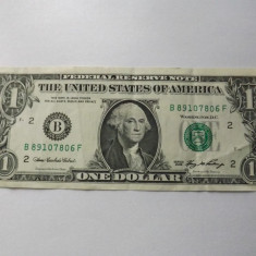 Statele Unite ( SUA ) 1 Dollar 2006 - serie 89107806 ( B - New York ) P#523 ; circulata - bancnota america