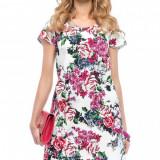 Rochie Lady M - art 95700, alb floral
