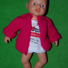 Papusa bebelus Zapf Creation 2007, stanta gat, fata frumoasa, expresiva, cauciuc cu material textil, 35 cm, decor, joc, jucarie, bebe, - Papusa de colectie