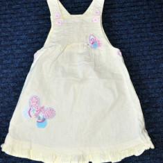 Rochita galben pal din in, broderie fluturi, marca NEXT, fetite 12-18 luni