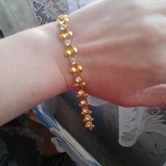 Bratara din aur filat - Bratara aur Swarovski, Carataj aur: 14k, Culoare Aur: Galben, 14 carate