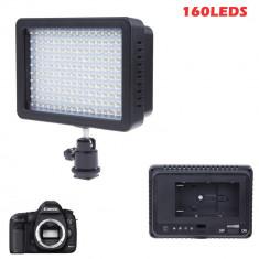Lampa video 160 LED-uri 1280LM reflector lumina Canon Nikon DSLR
