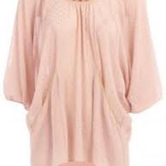 Bluza / Camasa roz pal buline sclipici auriu cu maneca 3/4 din chiffon sexy marimea UK 16 EUR 44 brand DOROTHY PERKINS ASOS - Camasa dama Zara, Universala